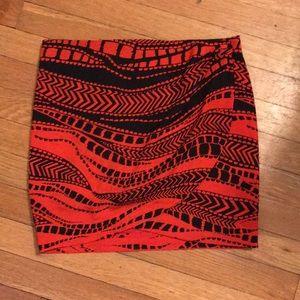Bebe Red & Black Wrap Skirt
